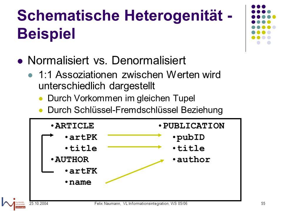 25.10.2004Felix Naumann, VL Informationsintegration, WS 05/0655 Schematische Heterogenität - Beispiel Normalisiert vs. Denormalisiert 1:1 Assoziatione