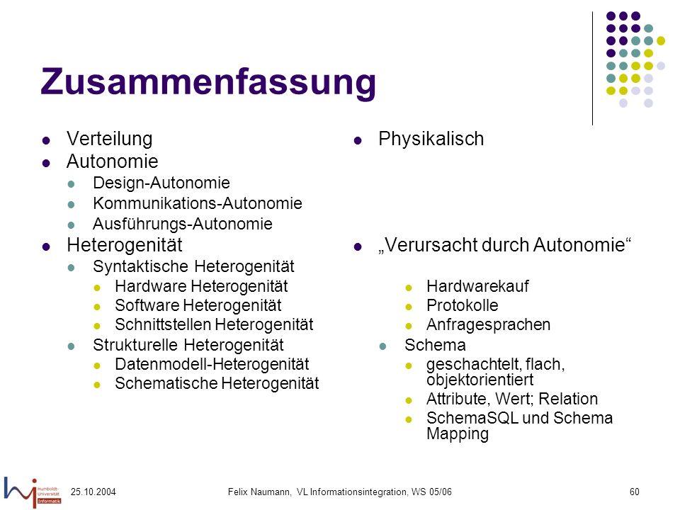25.10.2004Felix Naumann, VL Informationsintegration, WS 05/0660 Zusammenfassung Verteilung Autonomie Design-Autonomie Kommunikations-Autonomie Ausführ
