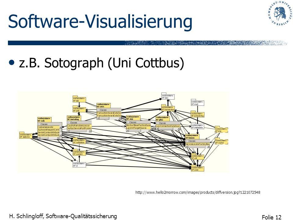 Folie 12 H. Schlingloff, Software-Qualitätssicherung Software-Visualisierung z.B. Sotograph (Uni Cottbus) http://www.hello2morrow.com/images/products/