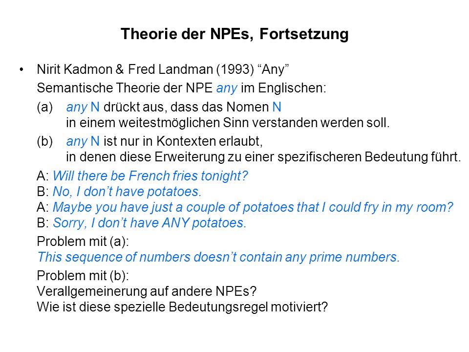 Theorie der NPEs, Fortsetzung Nirit Kadmon & Fred Landman (1993) Any Semantische Theorie der NPE any im Englischen: (a) any N drückt aus, dass das Nom
