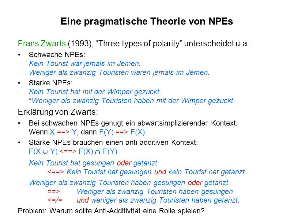 Eine pragmatische Theorie von NPEs Frans Zwarts (1993), Three types of polarity unterscheidet u.a.: Schwache NPEs: Kein Tourist war jemals im Jemen. W
