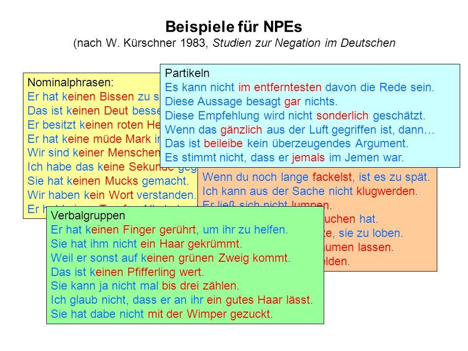 Beispiele für NPEs (nach W. Kürschner 1983, Studien zur Negation im Deutschen Nominalphrasen: Er hat keinen Bissen zu sich genommen. Das ist keinen De
