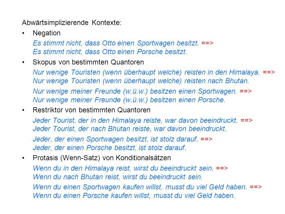 Abwärtsimplizierende Kontexte: Negation Es stimmt nicht, dass Otto einen Sportwagen besitzt. ==> Es stimmt nicht, dass Otto einen Porsche besitzt. Sko