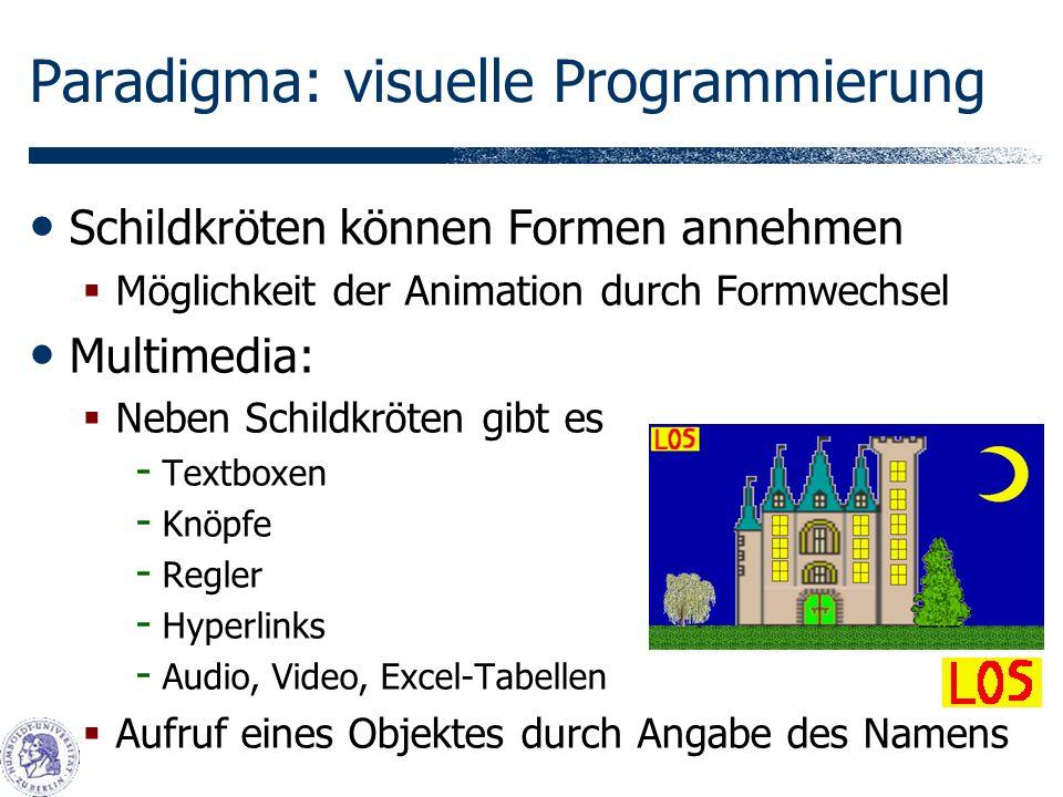 Paradigma: visuelle Programmierung Schildkröten können Formen annehmen Möglichkeit der Animation durch Formwechsel Multimedia: Neben Schildkröten gibt es - Textboxen - Knöpfe - Regler - Hyperlinks - Audio, Video, Excel-Tabellen Aufruf eines Objektes durch Angabe des Namens