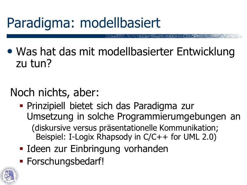 Paradigma: modellbasiert Was hat das mit modellbasierter Entwicklung zu tun.