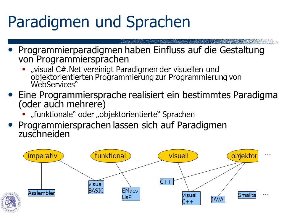 Paradigmen und Sprachen Programmierparadigmen haben Einfluss auf die Gestaltung von Programmiersprachen visual C#.Net vereinigt Paradigmen der visuellen und objektorientierten Programmierung zur Programmierung von WebServices Eine Programmiersprache realisiert ein bestimmtes Paradigma (oder auch mehrere) funktionale oder objektorientierte Sprachen Programmiersprachen lassen sich auf Paradigmen zuschneiden imperativfunktionalvisuellobjektorientiert...