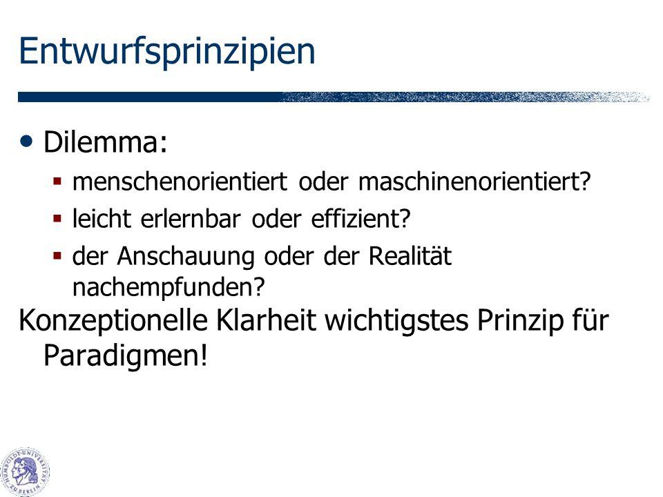 Entwurfsprinzipien Dilemma: menschenorientiert oder maschinenorientiert.