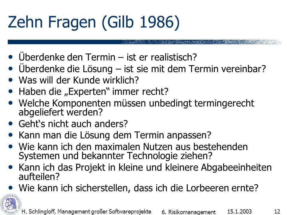 15.1.2003H. Schlingloff, Management großer Softwareprojekte12 Zehn Fragen (Gilb 1986) Überdenke den Termin – ist er realistisch? Überdenke die Lösung