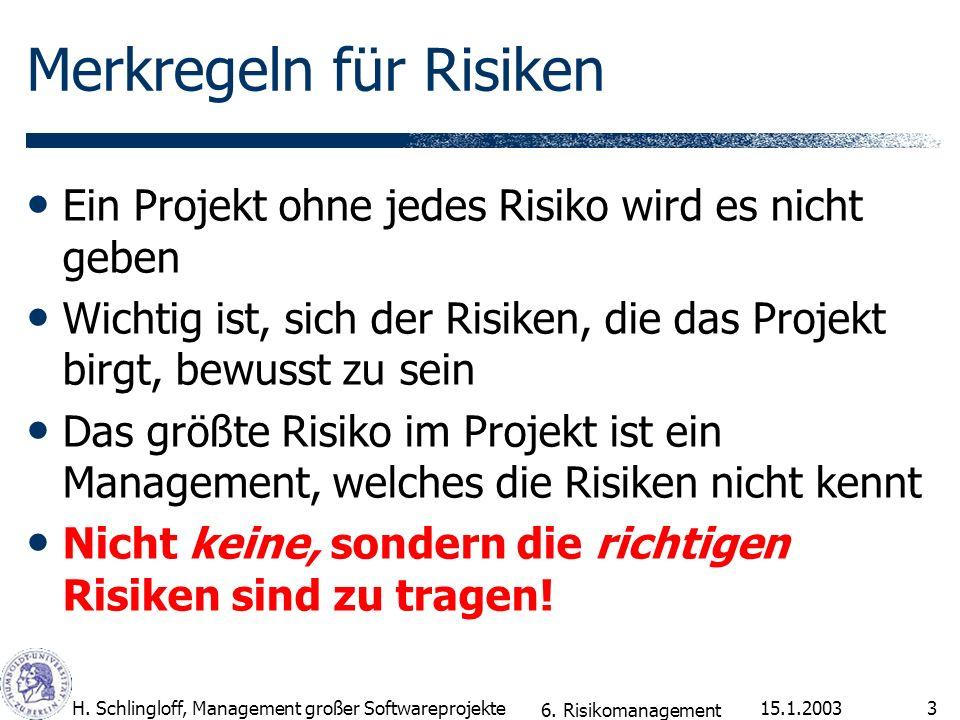 15.1.2003H. Schlingloff, Management großer Softwareprojekte3 Merkregeln für Risiken Ein Projekt ohne jedes Risiko wird es nicht geben Wichtig ist, sic