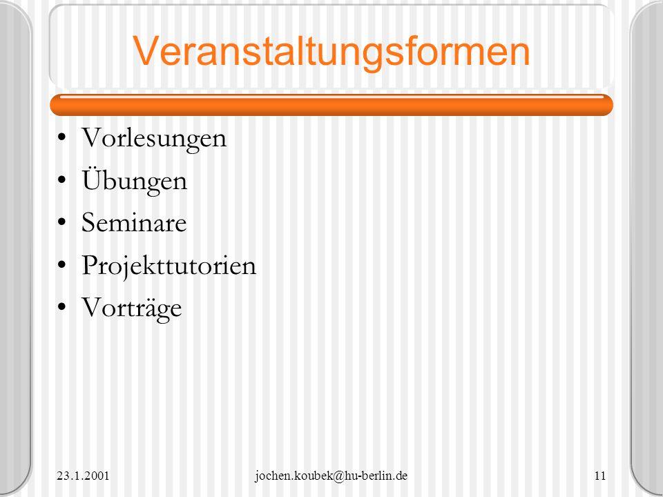 23.1.2001jochen.koubek@hu-berlin.de11 Veranstaltungsformen Vorlesungen Übungen Seminare Projekttutorien Vorträge