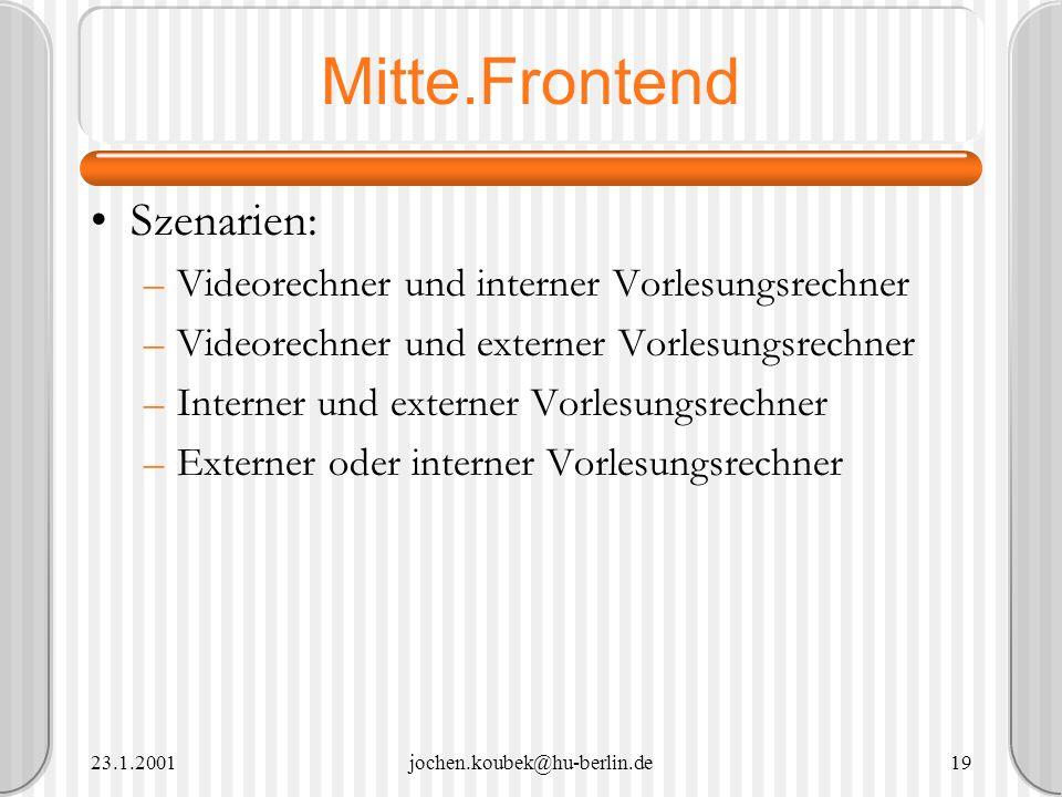 23.1.2001jochen.koubek@hu-berlin.de19 Mitte.Frontend Szenarien: –Videorechner und interner Vorlesungsrechner –Videorechner und externer Vorlesungsrech