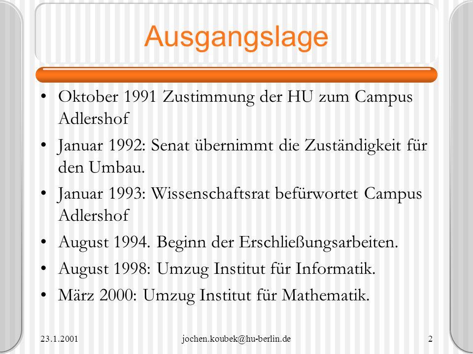 23.1.2001jochen.koubek@hu-berlin.de2 Ausgangslage Oktober 1991 Zustimmung der HU zum Campus Adlershof Januar 1992: Senat übernimmt die Zuständigkeit f