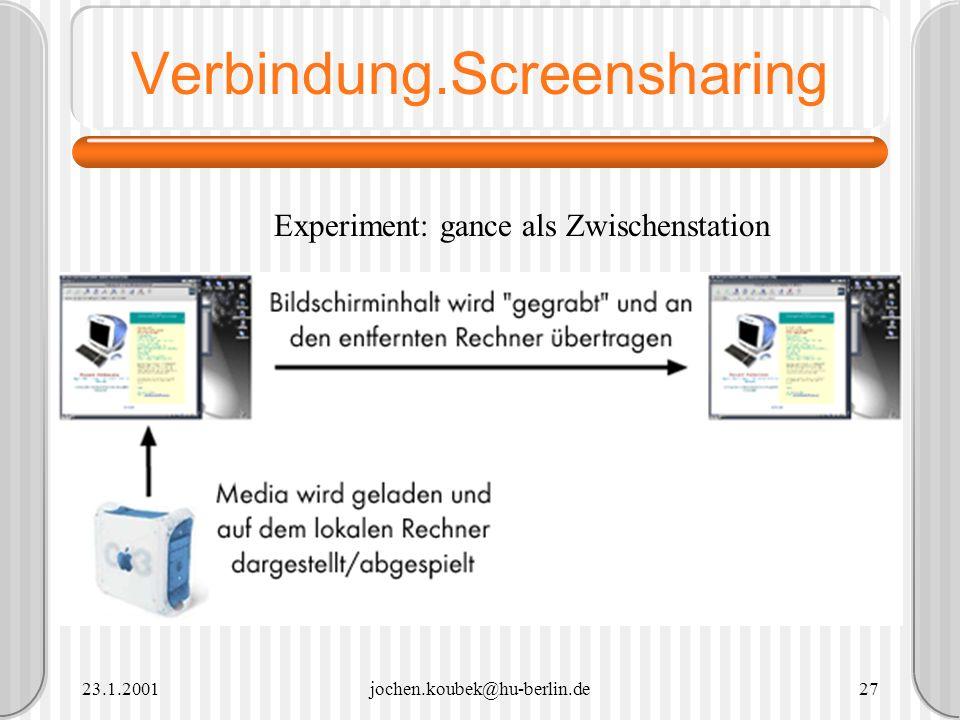 23.1.2001jochen.koubek@hu-berlin.de27 Verbindung.Screensharing Experiment: gance als Zwischenstation