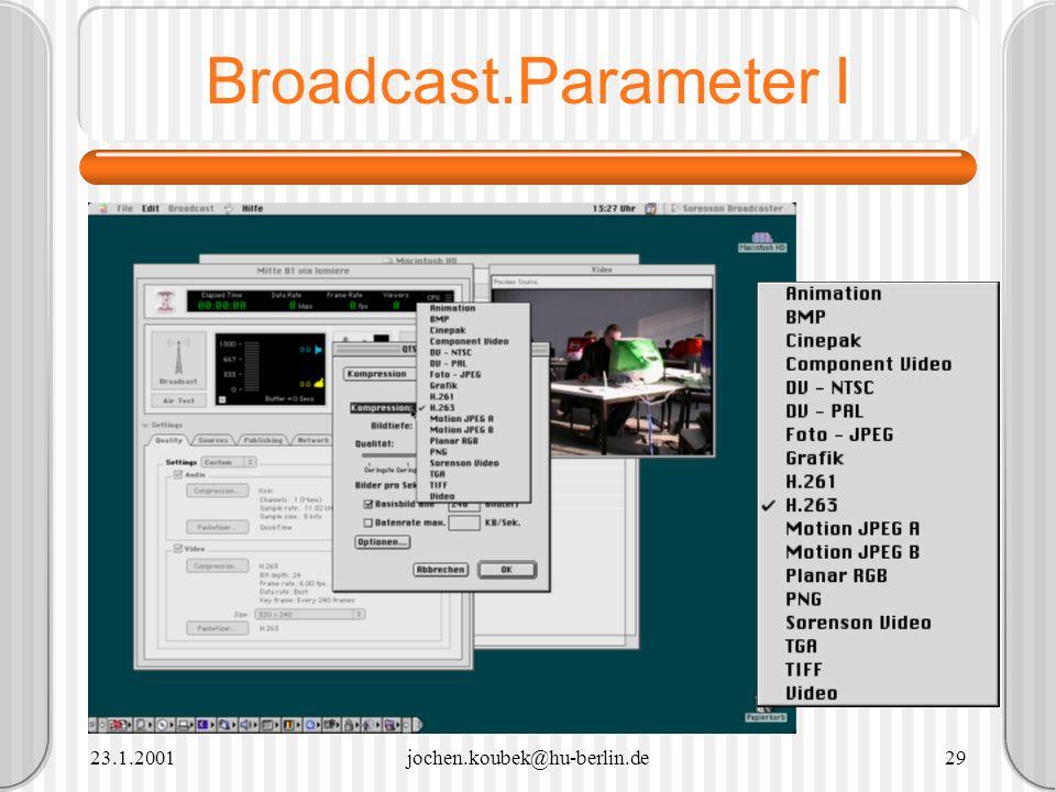 23.1.2001jochen.koubek@hu-berlin.de29 Broadcast.Parameter I