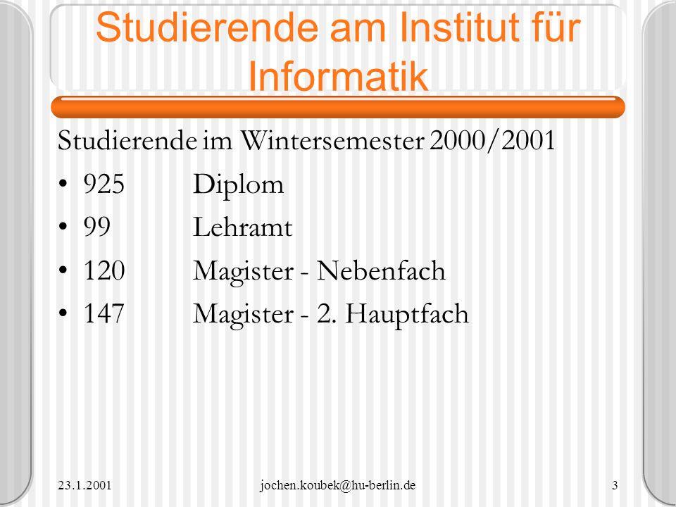 23.1.2001jochen.koubek@hu-berlin.de24 Vorbereitung.Inhalt Vortragsfolien als PowerPoint-Präsentation erstellen Beispiele (Medien) für Präsentation vorbereiten Aufgaben vorbereiten Webseite erstellen http://waste.informatik.hu-berlin.de/Lehre/DigitaleMedien/praktikum.html http://waste.informatik.hu-berlin.de/Lehre/DigitaleMedien/praktikum.html