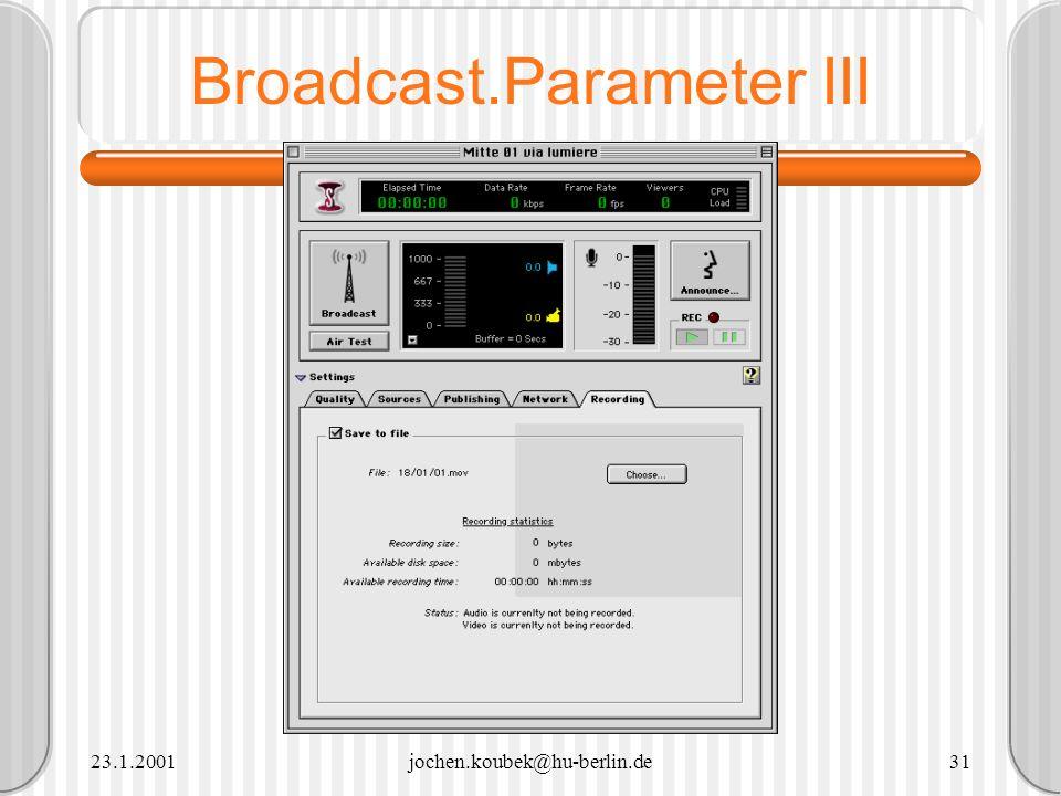 23.1.2001jochen.koubek@hu-berlin.de31 Broadcast.Parameter III