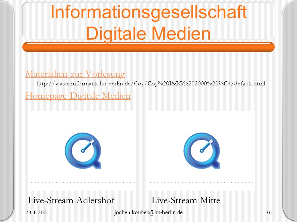 23.1.2001jochen.koubek@hu-berlin.de36 Informationsgesellschaft Digitale Medien Materialien zur Vorlesung Materialien zur Vorlesung http://waste.inform