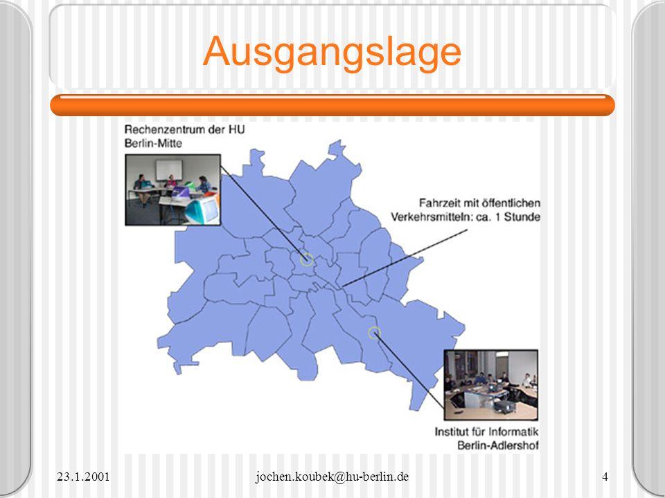 23.1.2001jochen.koubek@hu-berlin.de35 Beispielveranstaltungen Informationsgesellschaft / Digitale Medien Verteile (bilocale) Vorlesung Verteilte Übung MUD Wired.