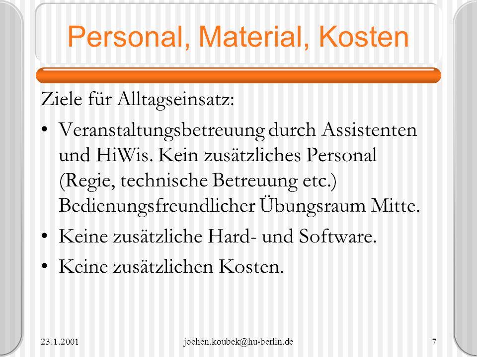 23.1.2001jochen.koubek@hu-berlin.de7 Personal, Material, Kosten Ziele für Alltagseinsatz: Veranstaltungsbetreuung durch Assistenten und HiWis. Kein zu