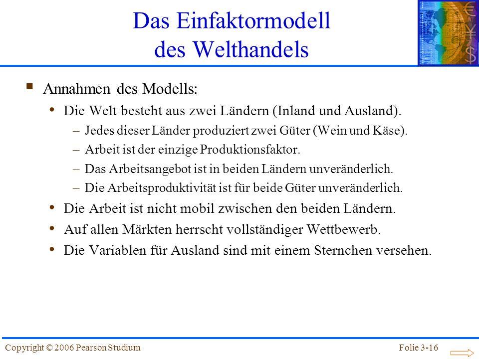 Folie 3-16Copyright © 2006 Pearson Studium Das Einfaktormodell des Welthandels Annahmen des Modells: Die Welt besteht aus zwei Ländern (Inland und Aus