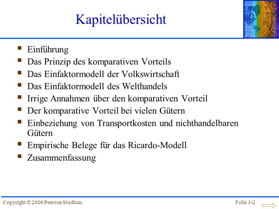 Folie 3-33Copyright © 2006 Pearson Studium Der komparative Vorteil bei vielen Gütern Tabelle 3.3: Arbeitskoeffizienten in Inland und Ausland GutArbeitskoeffizien- ten in Inland (a Li ) Arbeitskoeffizien- ten in Ausland (a * Li ) Relativer Produktivitätsvor- teil von Inland (a * Li/ a Li ) Äpfel110 Bananen5408 Kaviar3124 Datteln6122 Enchiladas1290,75