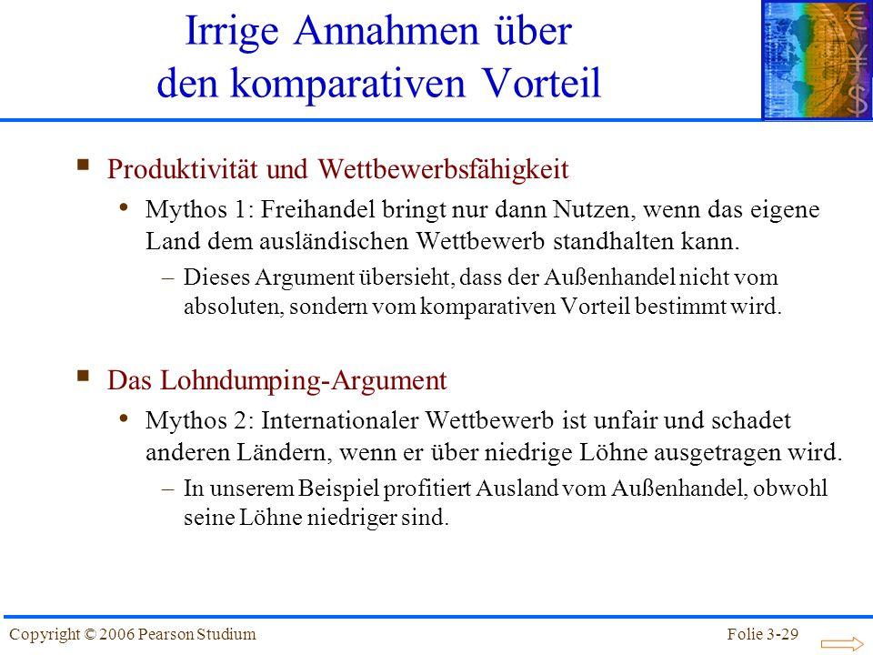 Folie 3-29Copyright © 2006 Pearson Studium Produktivität und Wettbewerbsfähigkeit Mythos 1: Freihandel bringt nur dann Nutzen, wenn das eigene Land de