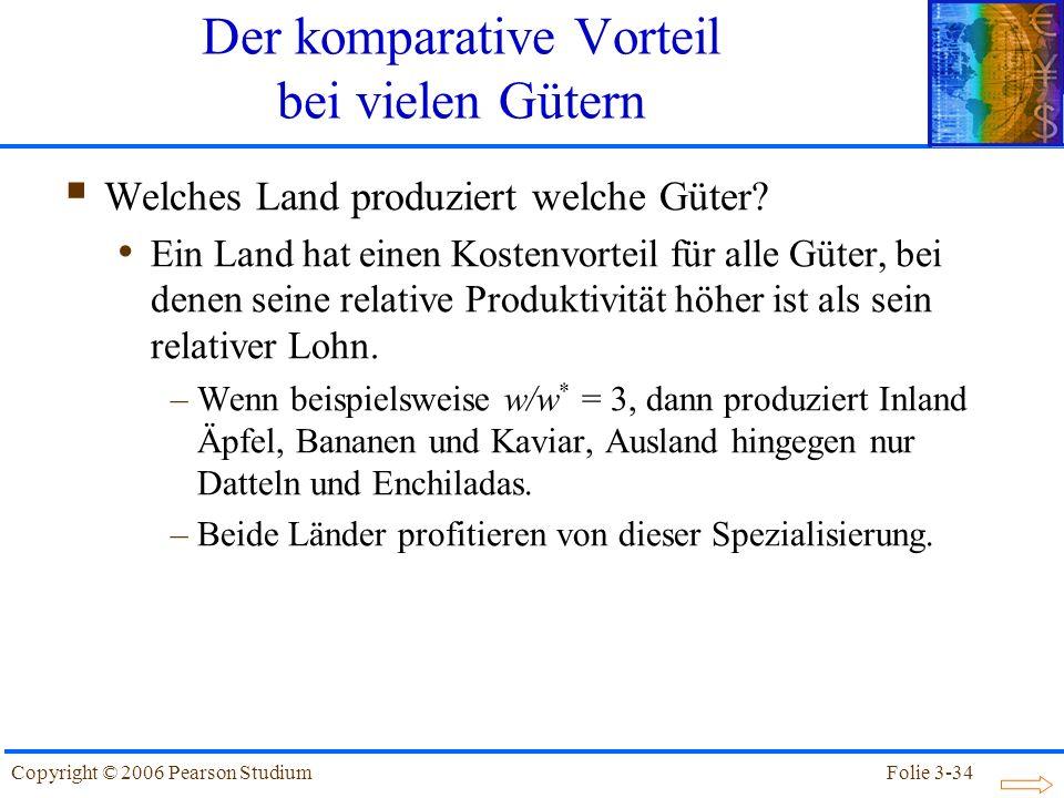 Folie 3-34Copyright © 2006 Pearson Studium Welches Land produziert welche Güter? Ein Land hat einen Kostenvorteil für alle Güter, bei denen seine rela