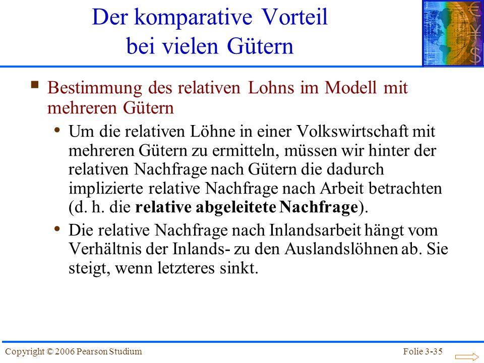 Folie 3-35Copyright © 2006 Pearson Studium Bestimmung des relativen Lohns im Modell mit mehreren Gütern Um die relativen Löhne in einer Volkswirtschaf