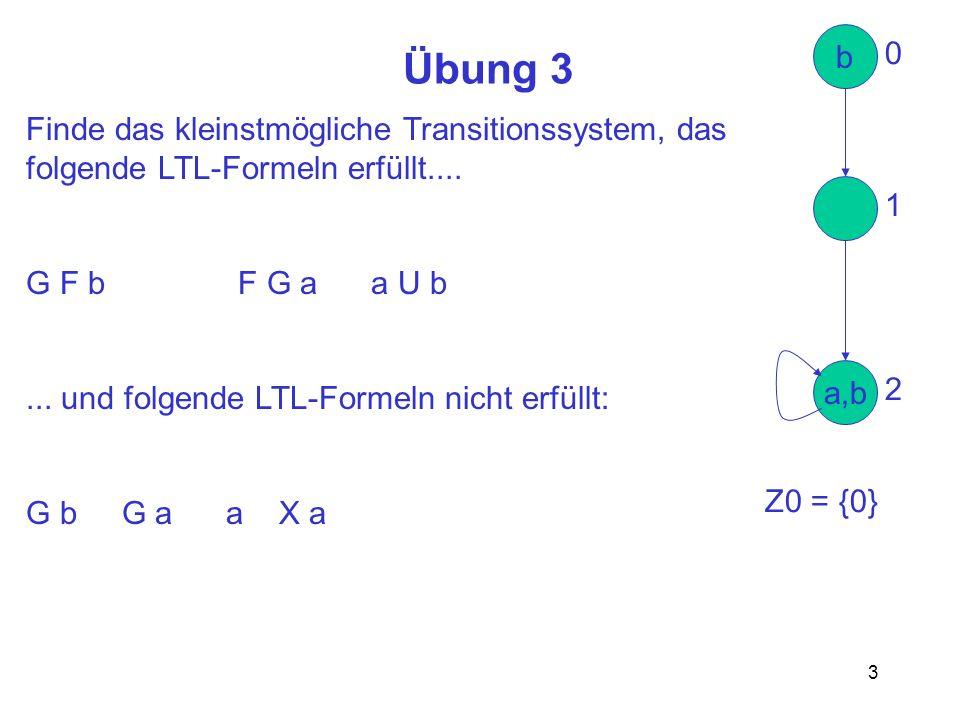 3 Übung 3 Finde das kleinstmögliche Transitionssystem, das folgende LTL-Formeln erfüllt.... G F b F G a a U b... und folgende LTL-Formeln nicht erfüll