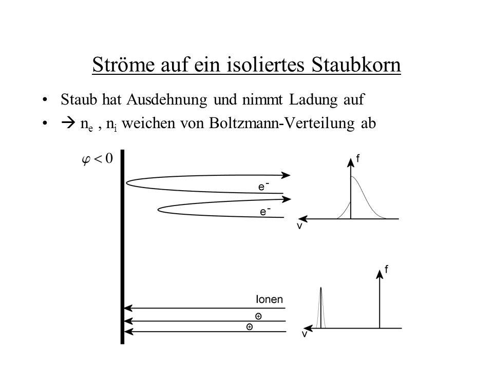Ströme auf ein isoliertes Staubkorn Staub hat Ausdehnung und nimmt Ladung auf n e, n i weichen von Boltzmann-Verteilung ab