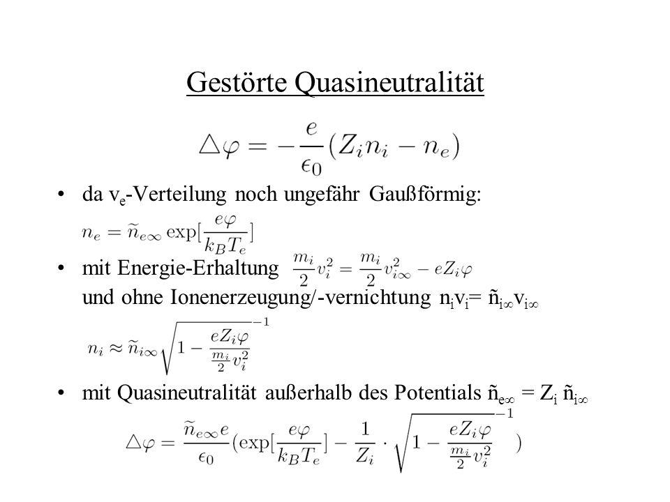 da v e -Verteilung noch ungefähr Gaußförmig: mit Energie-Erhaltung und ohne Ionenerzeugung/-vernichtung n i v i = ñ i v i mit Quasineutralität außerha