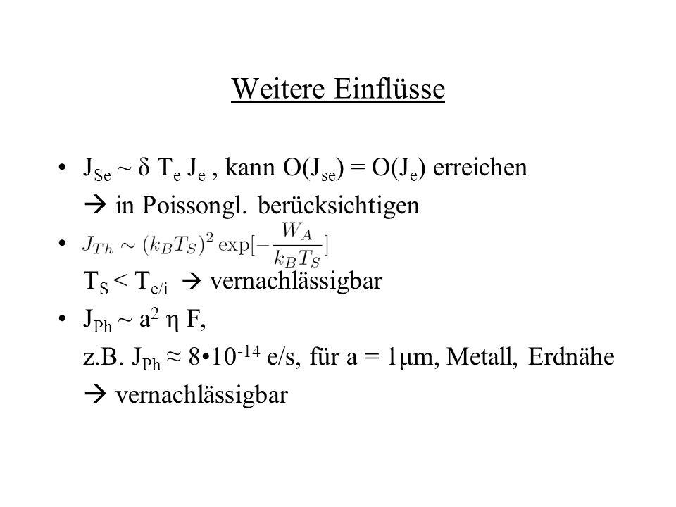 Weitere Einflüsse J Se ~ δ T e J e, kann O(J se ) = O(J e ) erreichen in Poissongl. berücksichtigen T S < T e/i vernachlässigbar J Ph ~ a 2 η F, z.B.