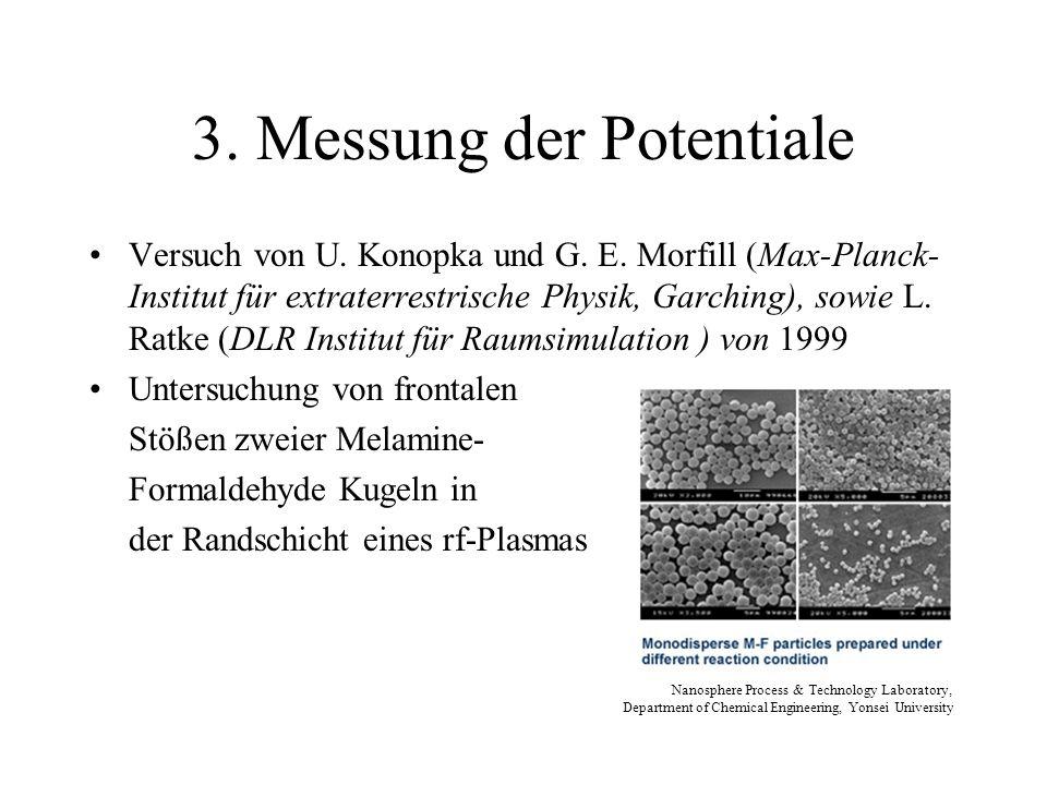 3. Messung der Potentiale Versuch von U. Konopka und G. E. Morfill (Max-Planck- Institut für extraterrestrische Physik, Garching), sowie L. Ratke (DLR