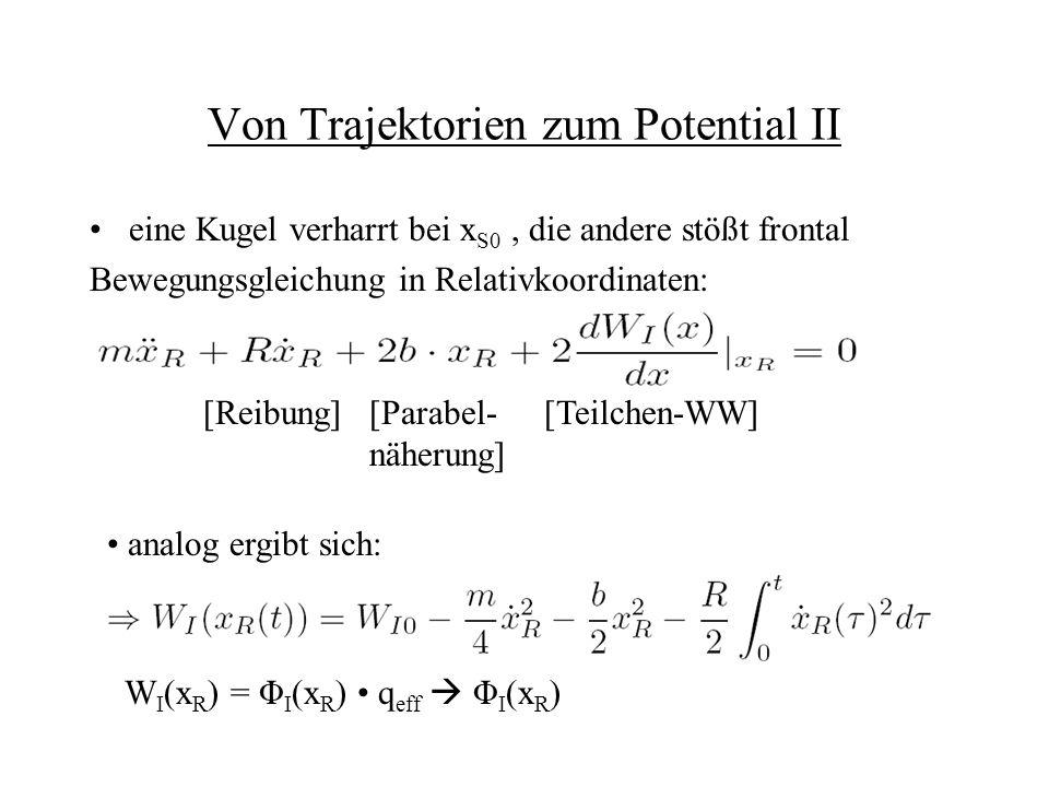 Von Trajektorien zum Potential II eine Kugel verharrt bei x S0, die andere stößt frontal Bewegungsgleichung in Relativkoordinaten: [Reibung][Parabel-