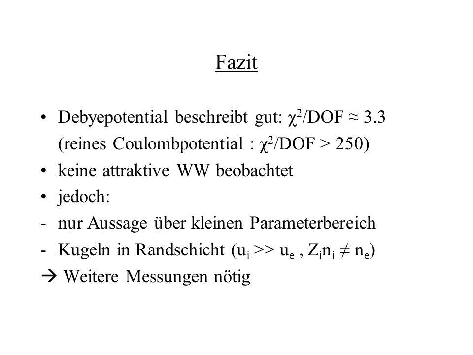 Fazit Debyepotential beschreibt gut: χ 2 /DOF 3.3 (reines Coulombpotential : χ 2 /DOF > 250) keine attraktive WW beobachtet jedoch: -nur Aussage über