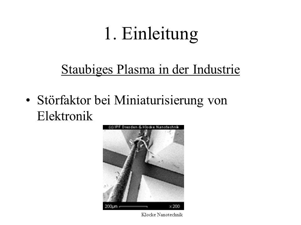 Staubiges Plasma in der Industrie Störfaktor bei Miniaturisierung von Elektronik 1. Einleitung Klocke Nanotechnik