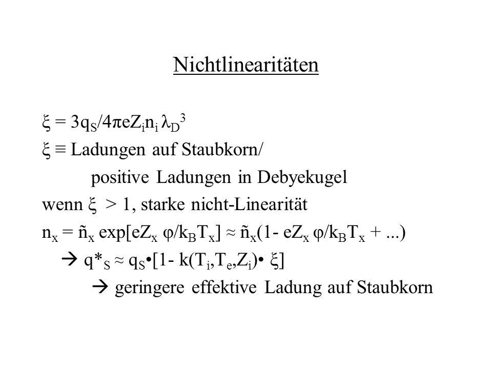 Nichtlinearitäten ξ = 3q S /4πeZ i n i λ D 3 ξ Ladungen auf Staubkorn/ positive Ladungen in Debyekugel wenn ξ > 1, starke nicht-Linearität n x = ñ x e