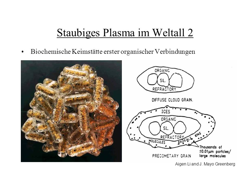 Staubiges Plasma im Weltall 2 Biochemische Keimstätte erster organischer Verbindungen Aigen Li and J. Mayo Greenberg