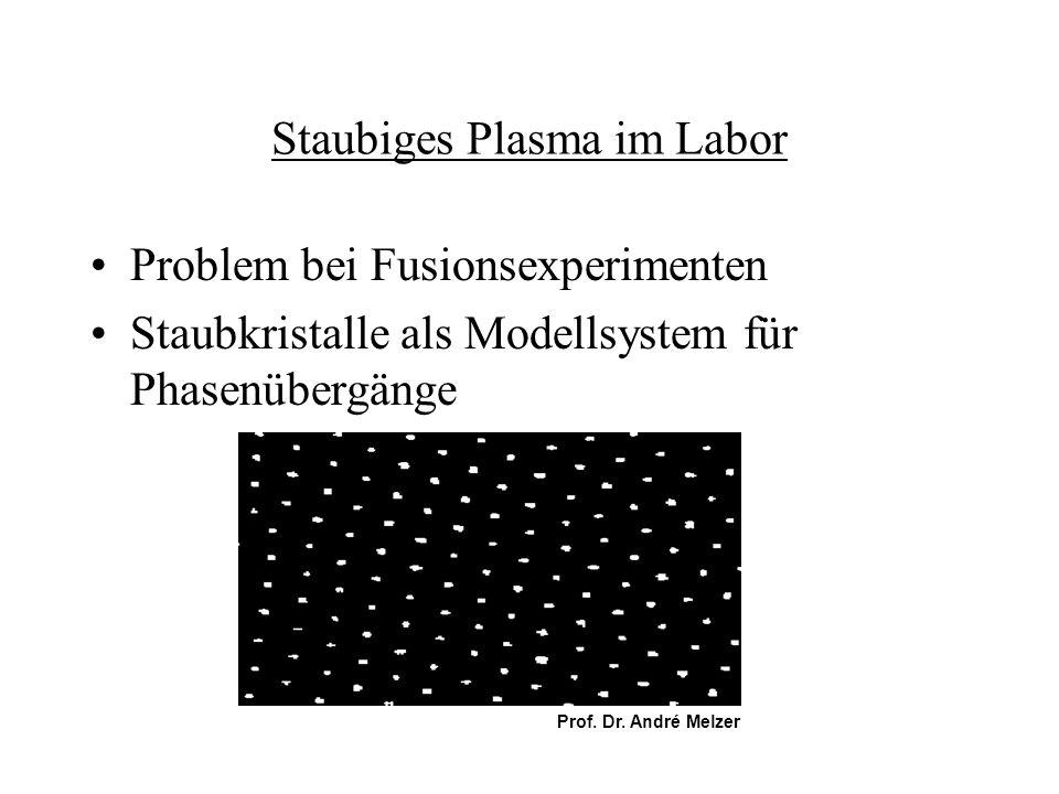Staubiges Plasma im Labor Problem bei Fusionsexperimenten Staubkristalle als Modellsystem für Phasenübergänge Prof. Dr. André Melzer