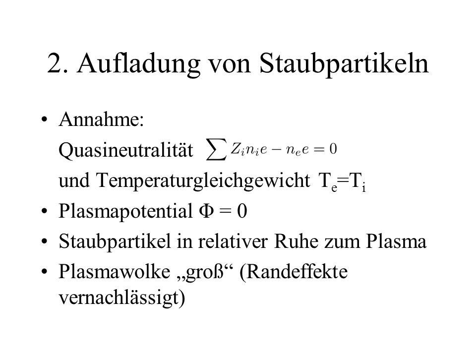 2. Aufladung von Staubpartikeln Annahme: Quasineutralität und Temperaturgleichgewicht T e =T i Plasmapotential Φ = 0 Staubpartikel in relativer Ruhe z