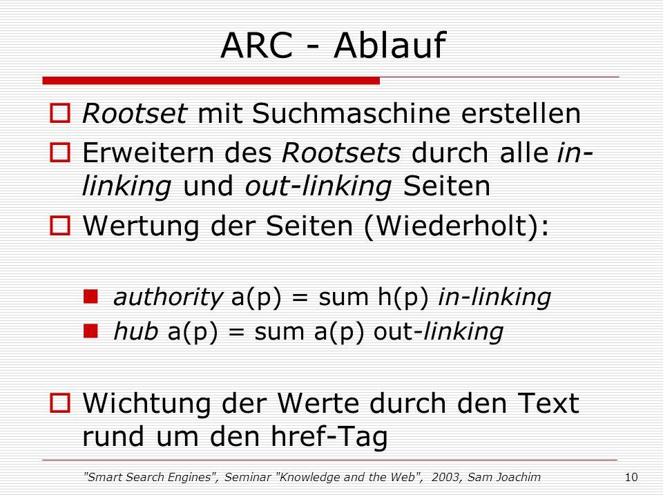 Smart Search Engines , Seminar Knowledge and the Web , 2003, Sam Joachim10 ARC - Ablauf Rootset mit Suchmaschine erstellen Erweitern des Rootsets durch alle in- linking und out-linking Seiten Wertung der Seiten (Wiederholt): authority a(p) = sum h(p) in-linking hub a(p) = sum a(p) out-linking Wichtung der Werte durch den Text rund um den href-Tag