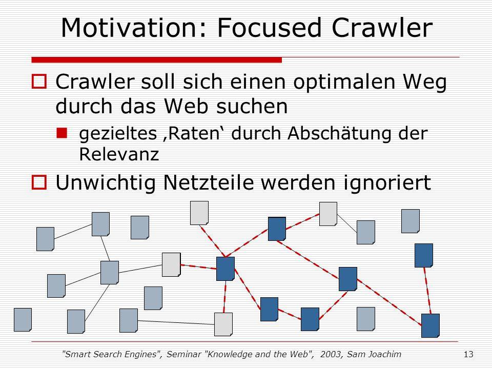 Smart Search Engines , Seminar Knowledge and the Web , 2003, Sam Joachim13 Motivation: Focused Crawler Crawler soll sich einen optimalen Weg durch das Web suchen gezieltes Raten durch Abschätung der Relevanz Unwichtig Netzteile werden ignoriert