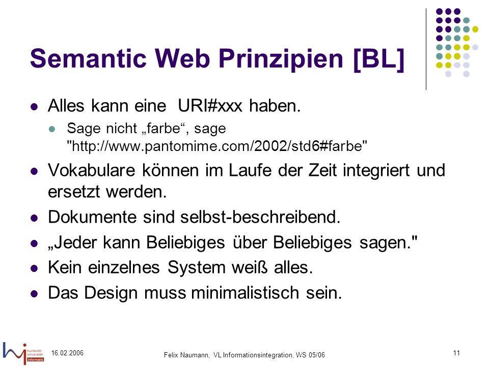 16.02.2006 Felix Naumann, VL Informationsintegration, WS 05/06 11 Semantic Web Prinzipien [BL] Alles kann eine URI#xxx haben.