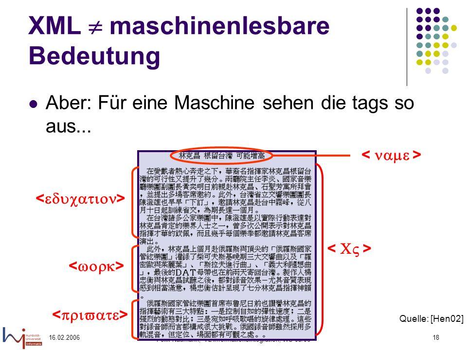 16.02.2006 Felix Naumann, VL Informationsintegration, WS 05/06 18 XML maschinenlesbare Bedeutung Aber: Für eine Maschine sehen die tags so aus...