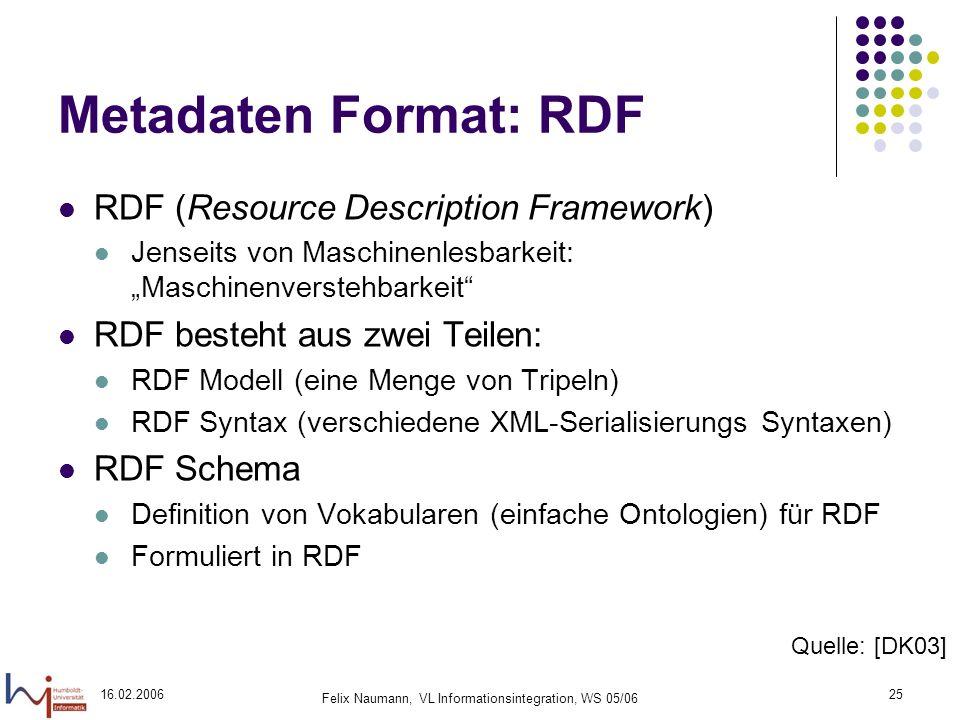 16.02.2006 Felix Naumann, VL Informationsintegration, WS 05/06 25 Metadaten Format: RDF RDF (Resource Description Framework) Jenseits von Maschinenlesbarkeit: Maschinenverstehbarkeit RDF besteht aus zwei Teilen: RDF Modell (eine Menge von Tripeln) RDF Syntax (verschiedene XML-Serialisierungs Syntaxen) RDF Schema Definition von Vokabularen (einfache Ontologien) für RDF Formuliert in RDF Quelle: [DK03]