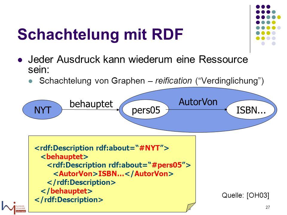 16.02.2006 Felix Naumann, VL Informationsintegration, WS 05/06 27 Schachtelung mit RDF Jeder Ausdruck kann wiederum eine Ressource sein: Schachtelung von Graphen – reification (Verdinglichung) pers05 ISBN...