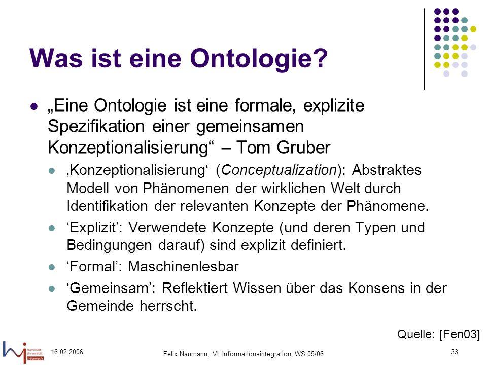 16.02.2006 Felix Naumann, VL Informationsintegration, WS 05/06 33 Was ist eine Ontologie.