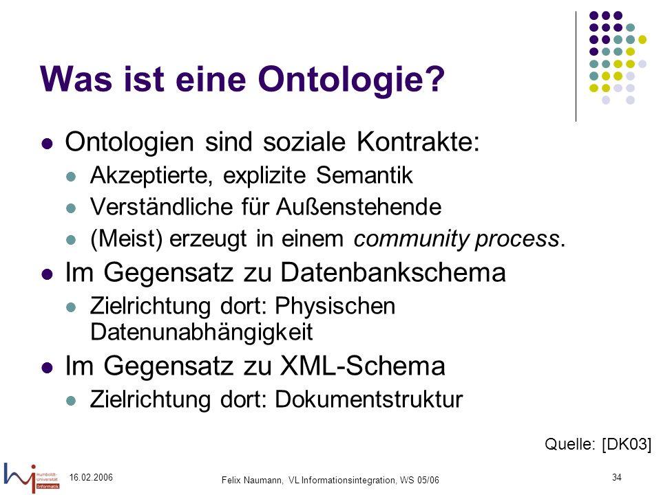 16.02.2006 Felix Naumann, VL Informationsintegration, WS 05/06 34 Was ist eine Ontologie.