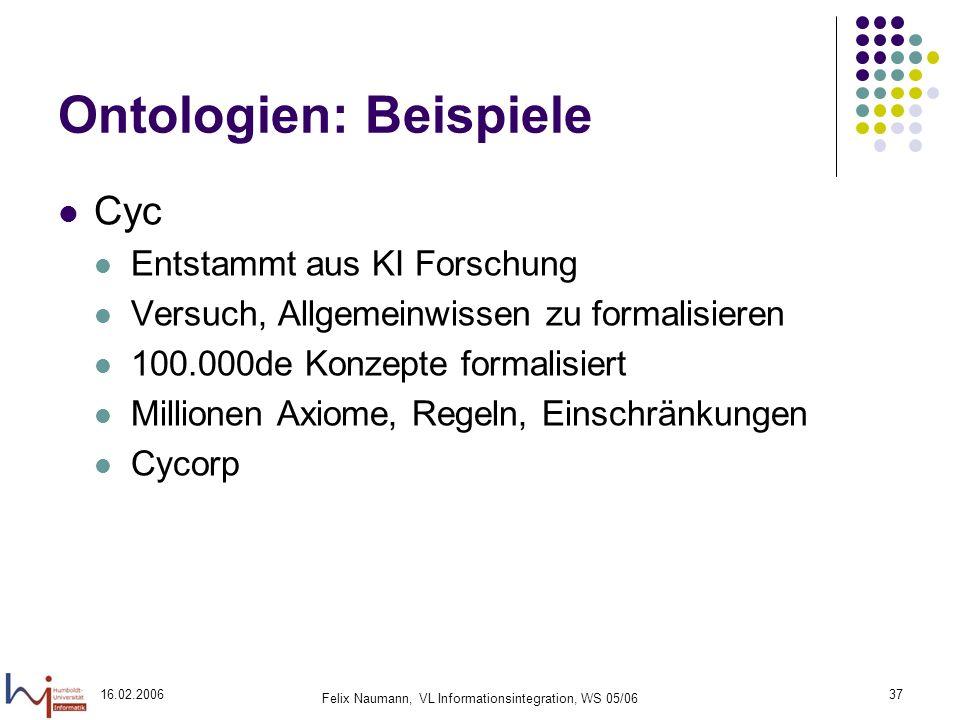 16.02.2006 Felix Naumann, VL Informationsintegration, WS 05/06 37 Ontologien: Beispiele Cyc Entstammt aus KI Forschung Versuch, Allgemeinwissen zu formalisieren 100.000de Konzepte formalisiert Millionen Axiome, Regeln, Einschränkungen Cycorp