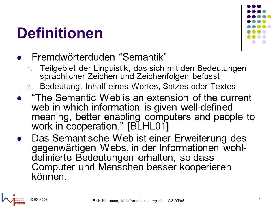 16.02.2006 Felix Naumann, VL Informationsintegration, WS 05/06 4 Definitionen Fremdwörterduden Semantik 1.